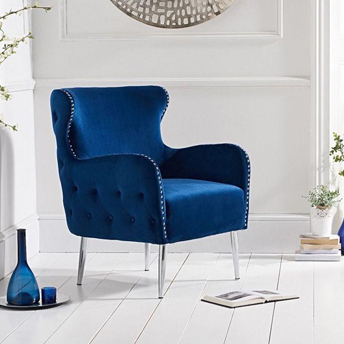 Bina Velvet Button Studded Armchair in Blue