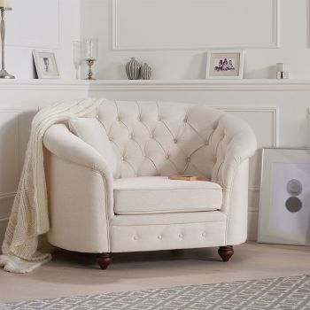 Chelsea Ivory Linen Buttoned Curved Chesterfield Armchair