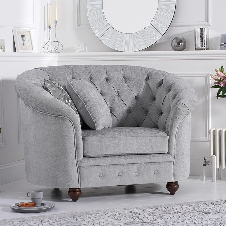 Chelsea Grey Plush Buttoned Curved Chesterfield Armchair