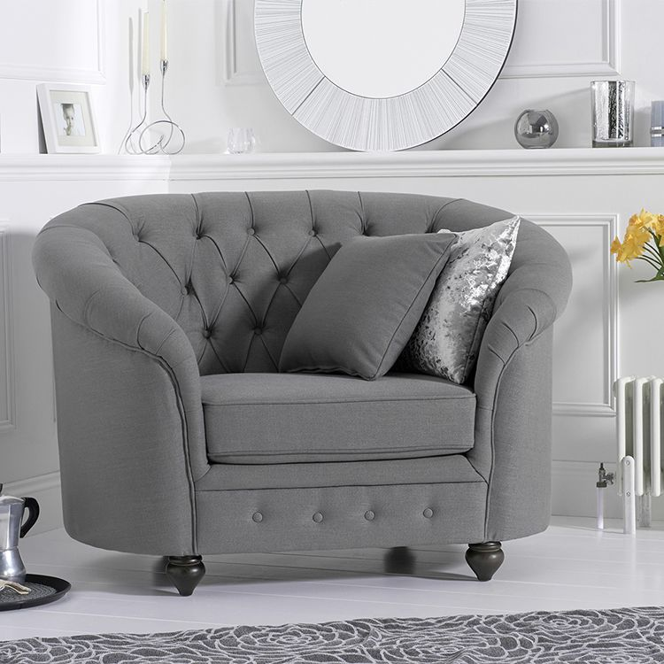 Chelsea Grey Linen Buttoned Curved Chesterfield Armchair