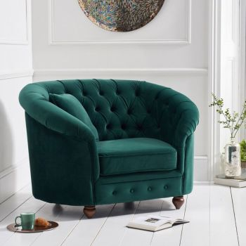 Chelsea Green Plush Buttoned Curved Chesterfield Armchair