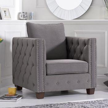 Ali Dark Grey Linen Buttoned Studded Armchair