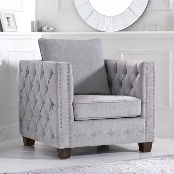Ali Dark Light Grey Plush Buttoned Studded Armchair