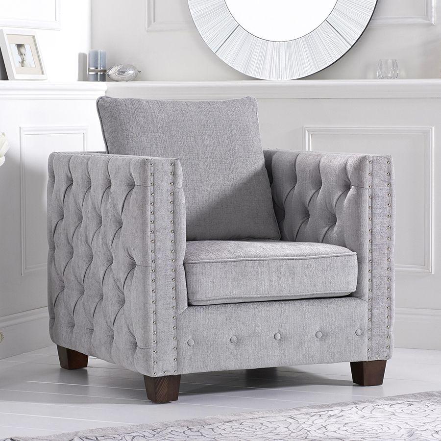Ali Dark Light Grey Plush Buttoned Studded Armchair