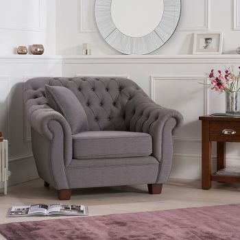 Livvy Grey Linen Chesterfield Armchair