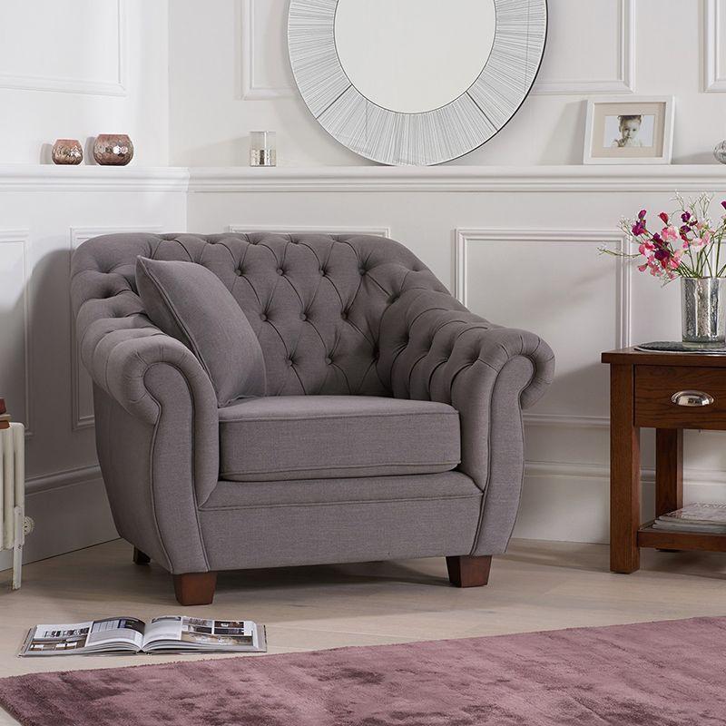 Livvy Grey Linen Chesterfield Armchair