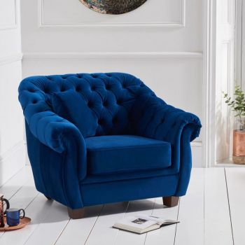 Livvy Blue Plush Chesterfield Armchair