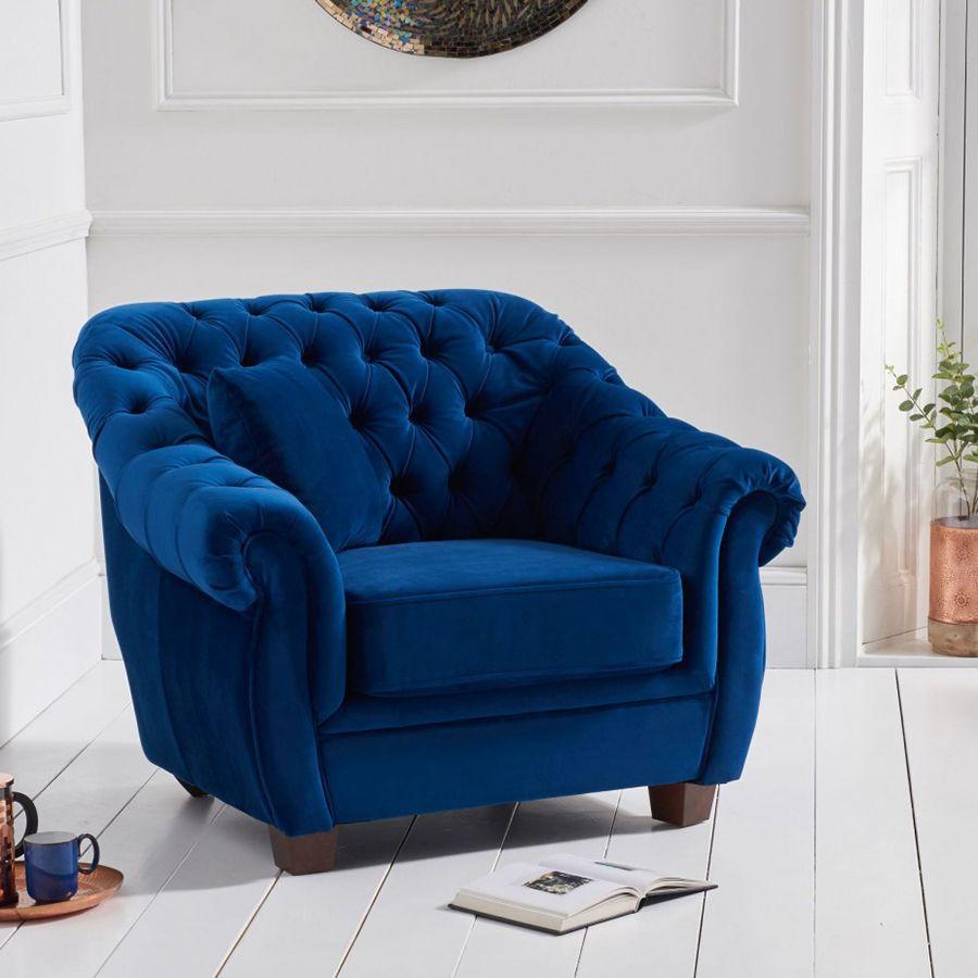 Livvy Blue Plush Chesterfield Armchair