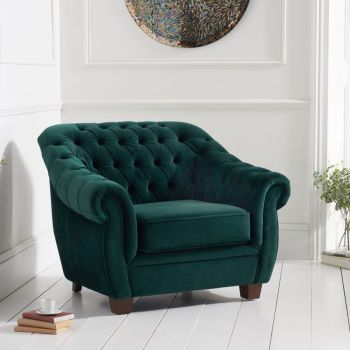 Livvy Green Plush Chesterfield Armchair