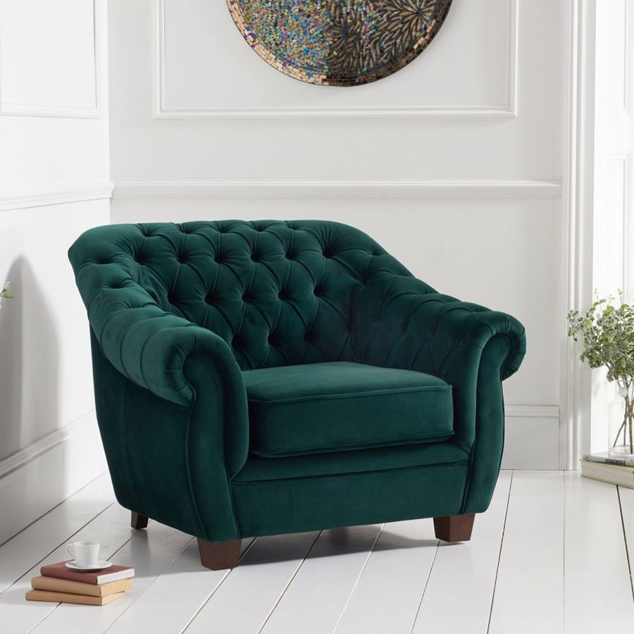 Livvy Green Plush Chesterfield Armchair