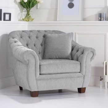 Livvy Grey Plush Chesterfield Armchair