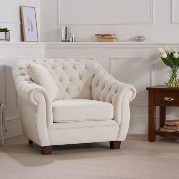 Livvy Ivory Linen Chesterfield Armchair