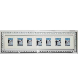 Floating Crystals Mirrored collage 7 Photo Display Frame 100cm x 35cm now instock