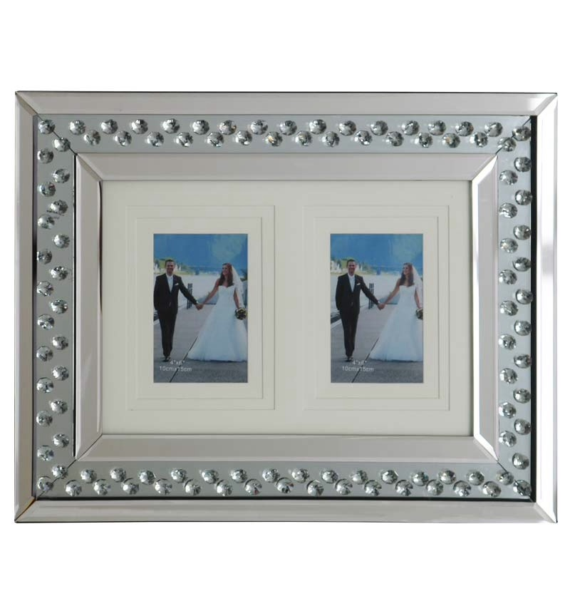 Floating Crystals Mirrored Photo Frame (b) 50cm x 35cm