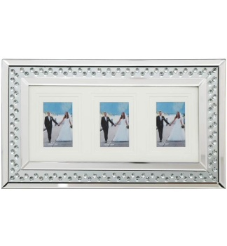Floating Crystal Collage 3 Mirrored Photo Frame 60cm x 35cm