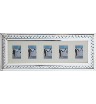 Floating Crystals Mirrored collage 5 Photo Display Frame 80cm x 35cm now instock