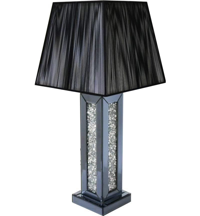 *Diamond Crush Smoked Mirrored Lamp In Smoked Grey Mirror