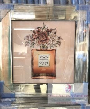 """Crystal XOXO Madam Moiselle in Rose Gold""  Wall Art in a Mirrored frame"
