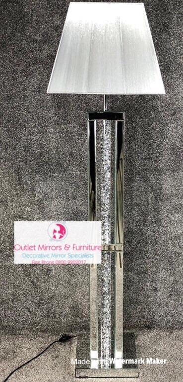 ^Diamond Crush Crystal Sparkle Mirrored Columns Floor Lamp silver or white