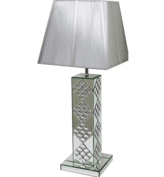 Mosaic Crystal Sparkle Mirrored Table Lamp silver or white shade in stock