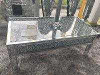 * New Diamond Crush Sparkle Crystal Mirrored Rectangular Coffee Table with Diamond crush top & sides