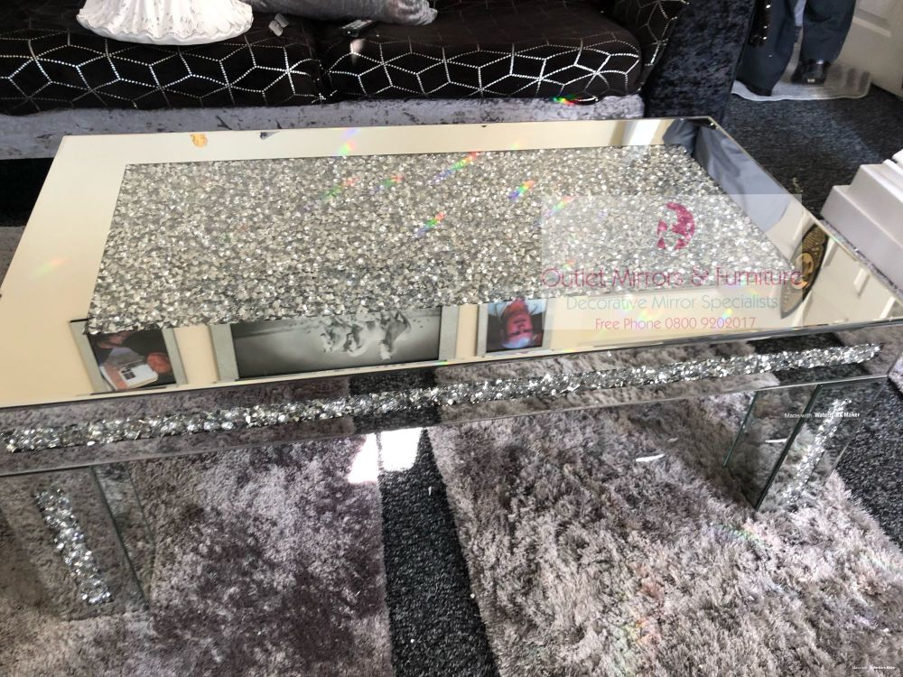* New Diamond Crush Sparkle Crystal Mirrored Rectangular Coffee Table borde