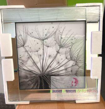 Mirror framed art print Dandelion Black & White