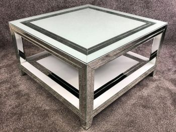 Bianco White & Mirrored Square Coffee Table