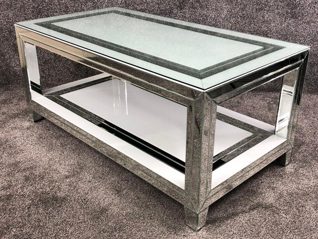 prod Bianco White Mirrored Rectangular Coffee Table