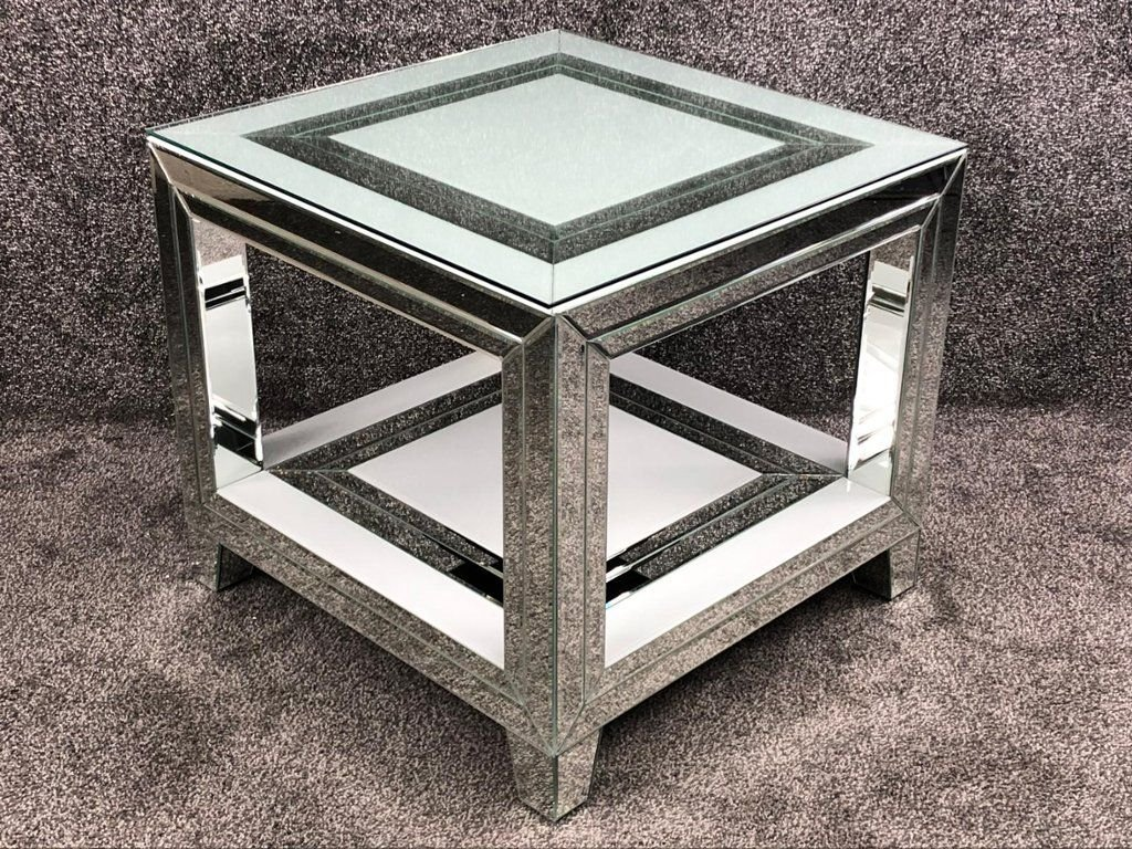 Bianco White & Mirrored Square Lamp Table