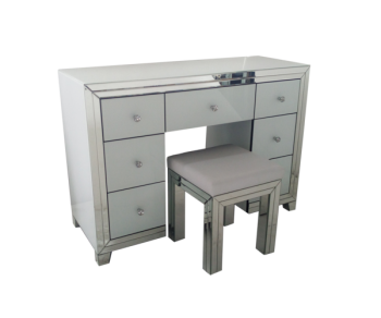 Bianco White & Mirrored Dressing Table Set