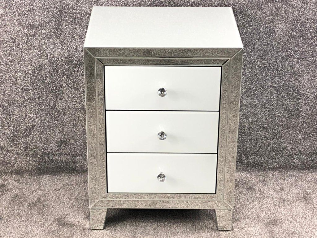 Bianco White & Mirrored 3 Draw Bedside chest