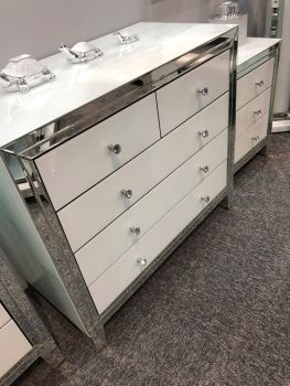 Bianco White & Mirrored 5 Draw Large Chest