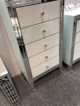 Bianco White & Mirrored 5 Draw Tallboy Chest