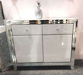 Bianco White & Mirrored 2 draw 2 Door Sideboard In stock