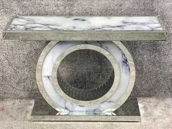Mirror & Marble effect Oval cente Console table 120cm