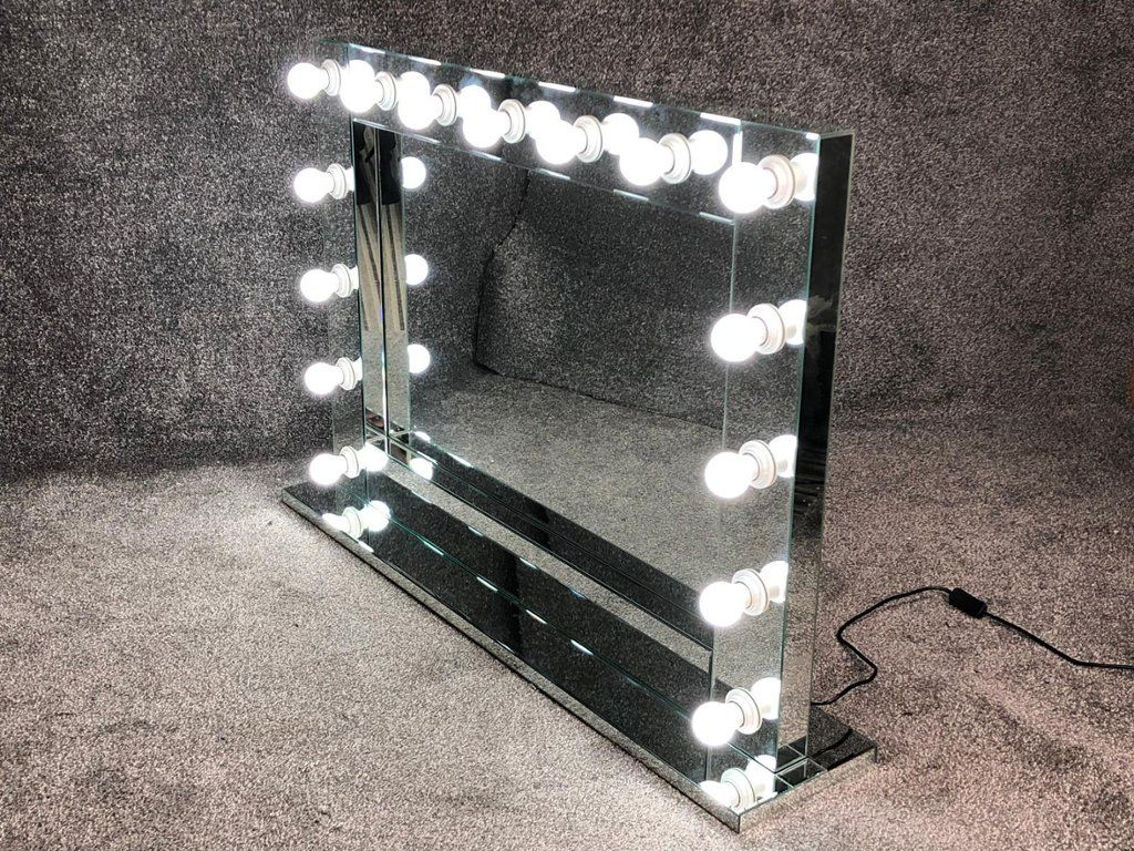 Table Top 15 bulb Silver Hollywood Mirror