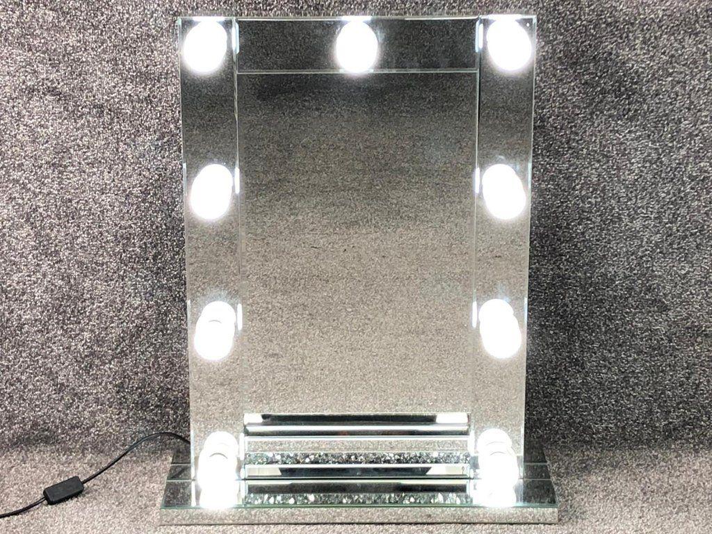 Diamond Crush Silver Free standing Hollywood Mirror 70cm x 50cm