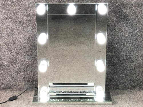Diamond Crush Silver Free standing Hollywood Mirror 70cm x 50cm