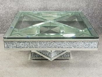 * New Diamond Crush Sparkle Crystal Mirrored Twist Square Coffee Table -in stock