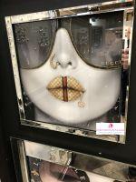 Media Art Gucci Lips Mirror Framed sparkle Art  70cm x 70cm
