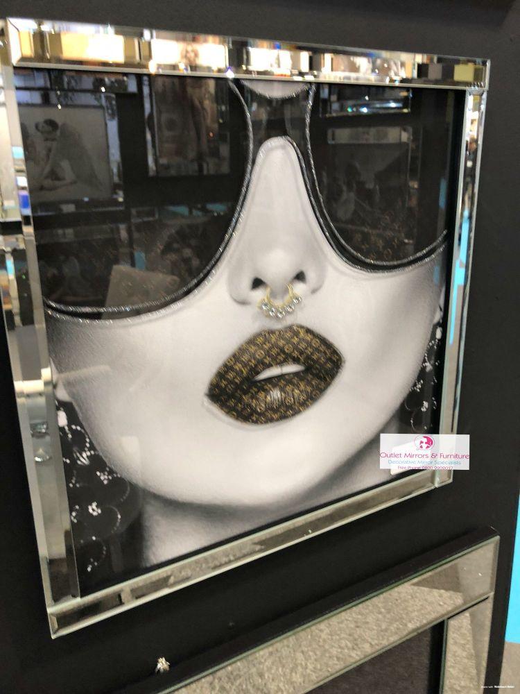 Media Art louis Vuitton Laurent Lips Mirror Framed sparkle Art  70cm x 70cm