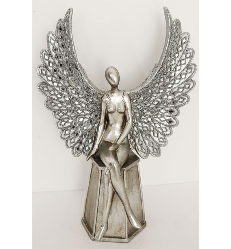 Sitting Angel with Open Wings Medium