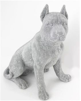 "16"" Sitting Dog in Sparkle Silver"