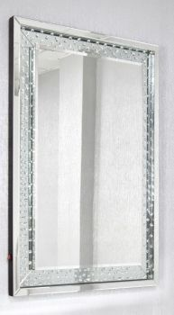 *Floating Crystals Silver Wall Mirror 120cm x 80cm