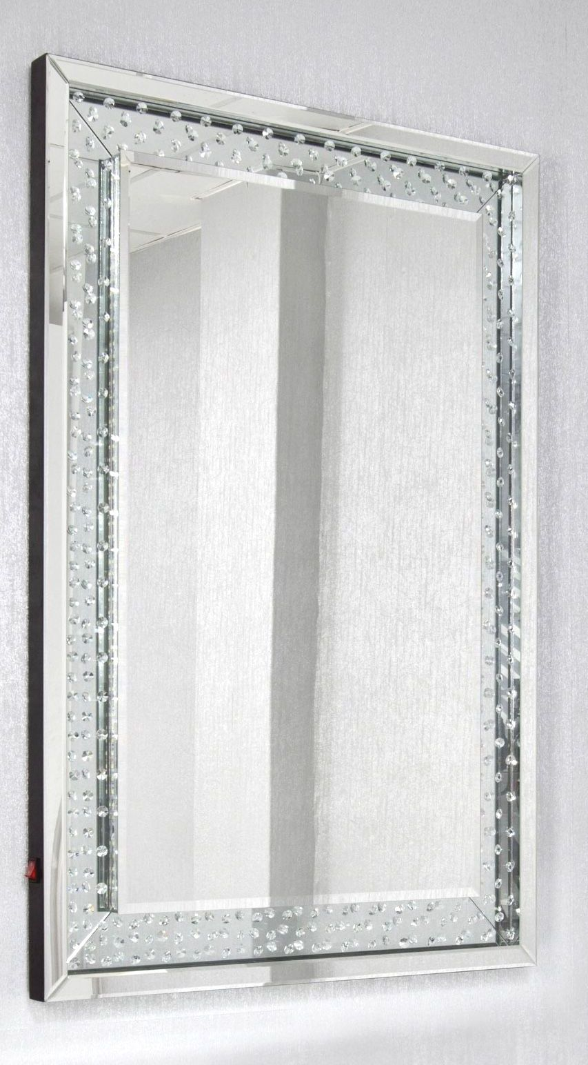 *Special Offer Floating Crystals Silver Wall Mirror 120cm x 80cm