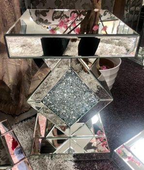 * Diamond Crush Sparkle Crystal Mirrored Diamond Centre Lamp Table small