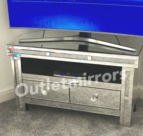 * Diamond Crush Sparkle Mirrored TV Corner Entertainment
