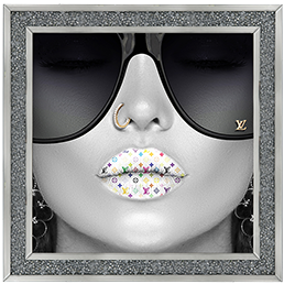 Media Art louis Vuitton multi colour Lips Diamond Crush Framed sparkle Art 60cm x 60cm