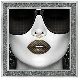 Media Art louis Vuitton Lips Diamond Crush Framed sparkle Art 88cm x 88cm